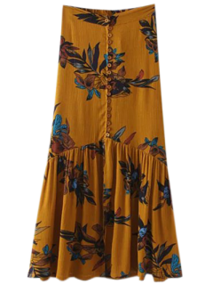 Boho Floral Single-Breasted Maxi Skirt - Ginger M