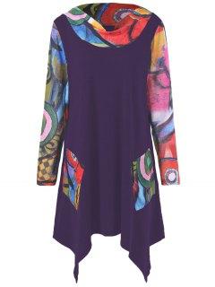 Oil Painting Pattern Asymmetrical Longline T-Shirt - Deep Purple Xl