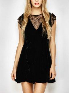 Velvet Lace Panel Mini Dress - Black L