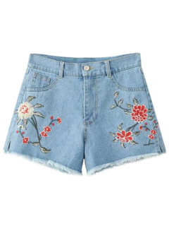 High Waisted Embroidered Denim Shorts - Light Blue M