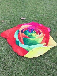 Multicolor Rose Design Beach Throw - Red