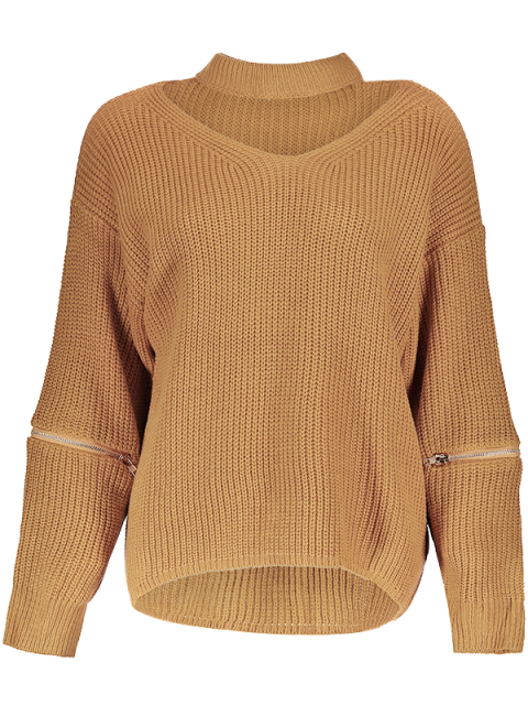 women's Cut Out Chunky Choker Sweater - EARTHY ONE SIZE Mobile