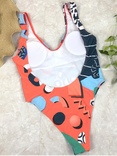 new Low Back Abstract Print Swimsuit - GREEN M Mobile
