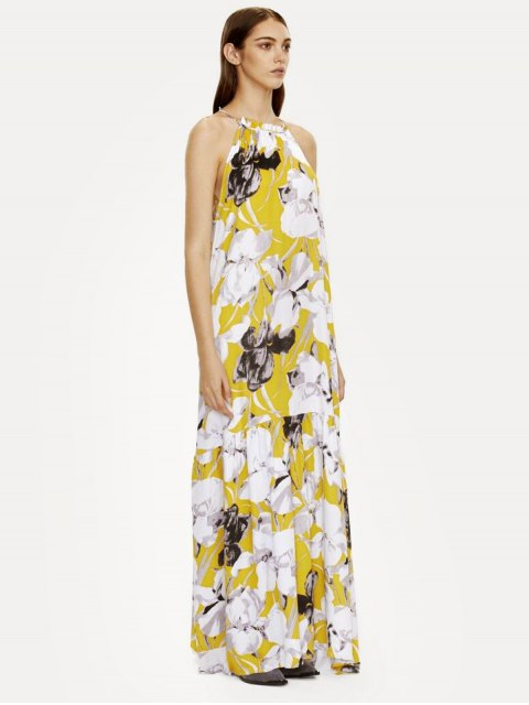 sale Halter Maxi Floral Beach Dress - YELLOW M Mobile