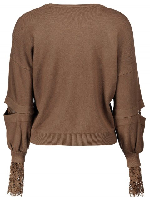 chic Lantern Sleeve Lace Spliced Sweater - DEEP BROWN ONE SIZE Mobile