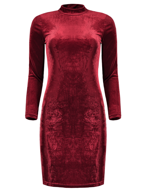 robe en velours a manches longues rouge vineux robes. Black Bedroom Furniture Sets. Home Design Ideas