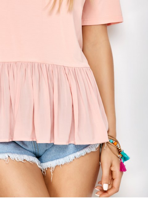 chic Frill Hem Half Sleeve Tee - PINK S Mobile