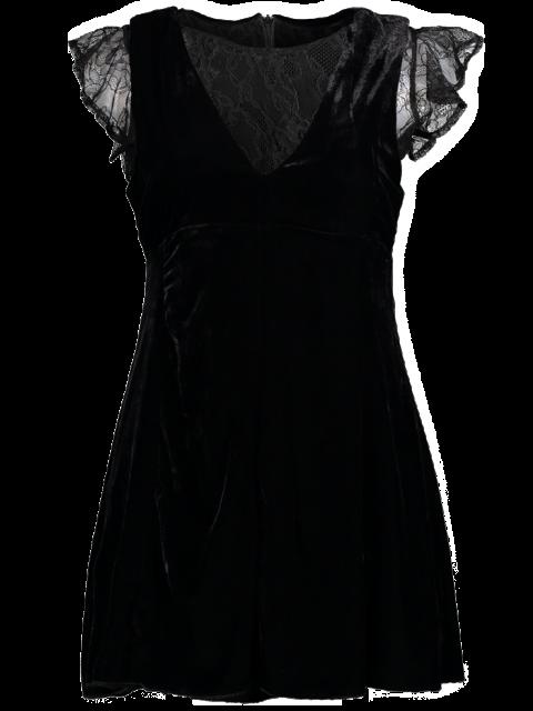 shop Velvet Lace Panel Mini Dress - BLACK L Mobile