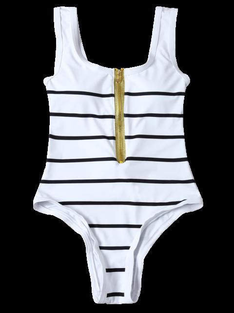 new Half Zip Striped One-Piece Swimwear - WHITE XL Mobile