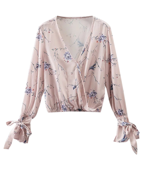 sale Floral Wrap Top - LIGHT PINK S Mobile