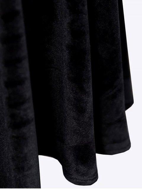 affordable Velvet Keyhole Skater Dress - BURGUNDY M Mobile