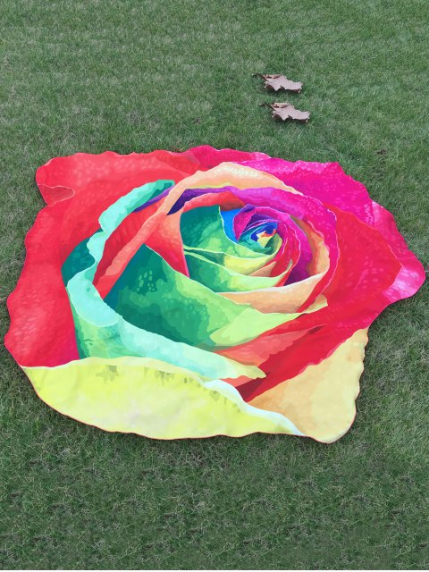 chic Multicolor Rose Design Beach Throw - RED ONE SIZE Mobile