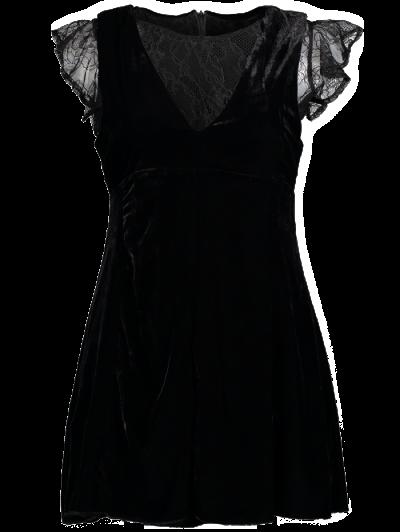 Velvet Lace Panel Mini Dress - BLACK L Mobile