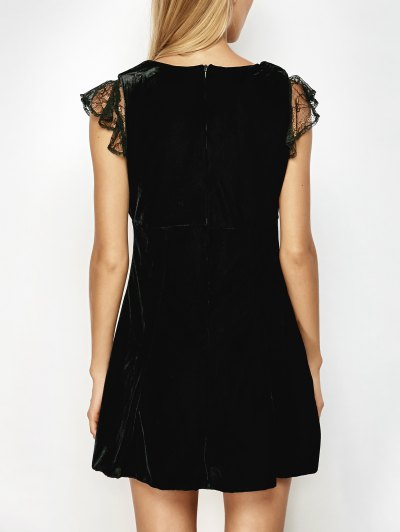 Velvet Lace Panel Mini Dress - BLACK S Mobile