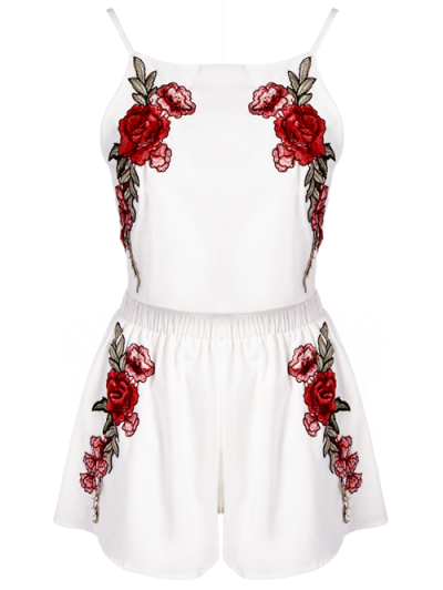 Rose Embroidered Slip Top with Shorts - WHITE L Mobile