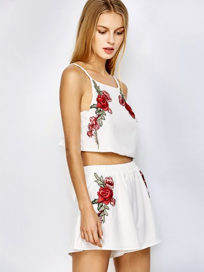 Rose Embroidered Slip Top with Shorts - WHITE M Mobile