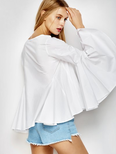 Bell Sleeve Cotton Blouse - WHITE L Mobile