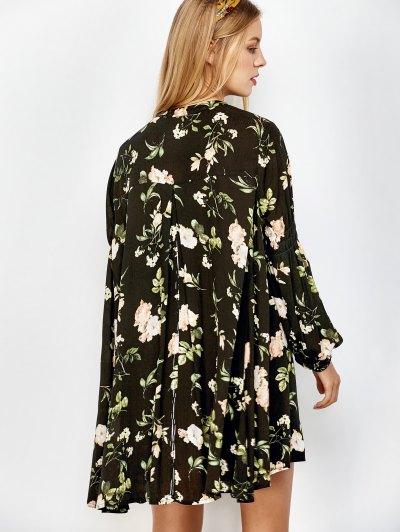 Floral Print Keyhole Neck Swing Dress - BLACK S Mobile