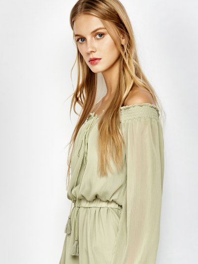 Off The Shoulder Chiffon Mini Dress - LIGHT GREEN L Mobile