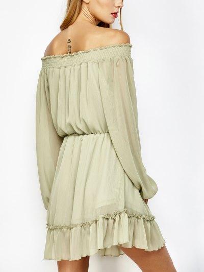 Off The Shoulder Chiffon Mini Dress - LIGHT GREEN M Mobile
