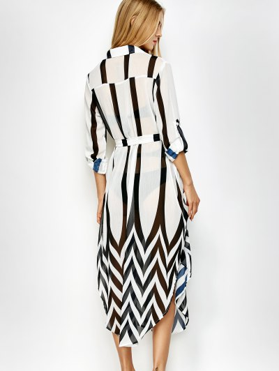Belted Striped Shirt Dress - WHITE AND BLACK 2XL Mobile