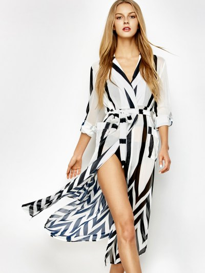 Belted Striped Shirt Dress - WHITE AND BLACK L Mobile