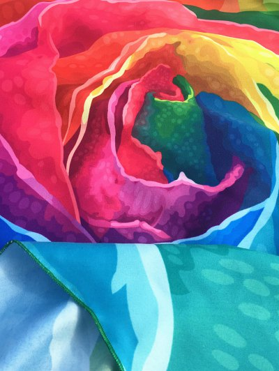 Multicolor Rose Design Beach Throw - COLORFUL ONE SIZE Mobile