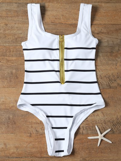 Half Zip Striped One-Piece Swimwear - WHITE L Mobile