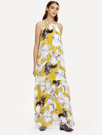 Halter Maxi Floral Beach Dress - YELLOW L Mobile