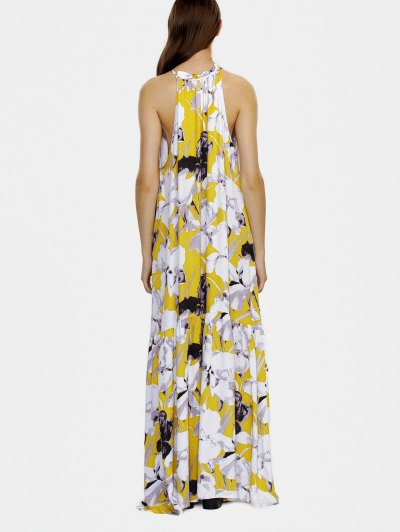 Halter Maxi Floral Beach Dress - YELLOW S Mobile
