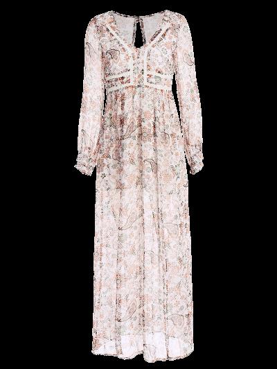 High Slit Printed Maxi Dress - FLORAL L Mobile