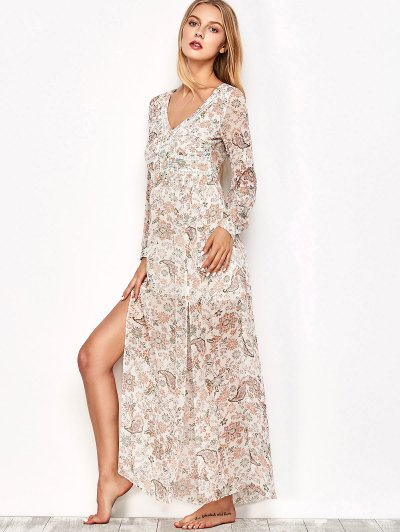 High Slit Printed Maxi Dress - FLORAL M Mobile