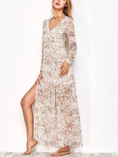 High Slit Printed Long Sleeve Maxi Dress - Floral