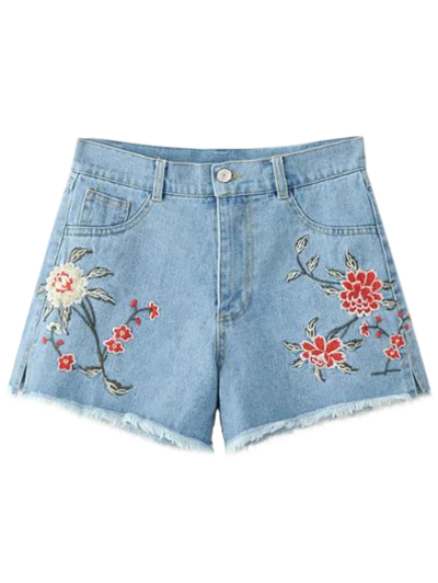 High Waisted Embroidered Denim Shorts - Light Blue