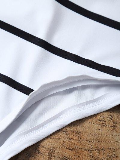 Half Zip Striped One-Piece Swimwear - WHITE XL Mobile