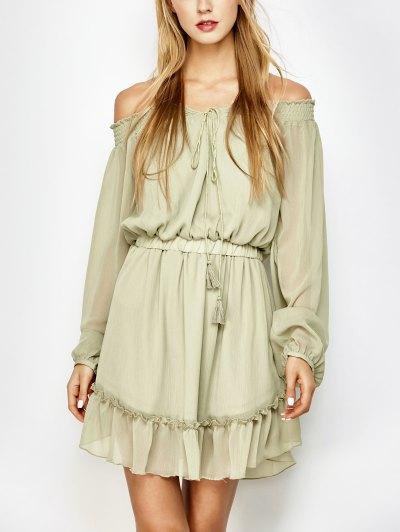 Off The Shoulder Chiffon Ruffle Mini Dress - Light Green