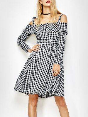 Cold Shoulder Slip Ruffle Plaid Dress - Checked