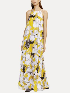 Halter Maxi Floral Beach Dress - Yellow