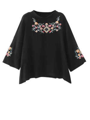 Embroidered Crew Neck Top - Black