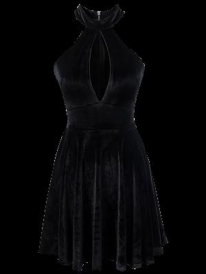 Velvet Keyhole Skater Dress - Black