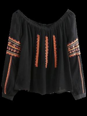 Embroidered Long Sleeve Boho Blouse - Black
