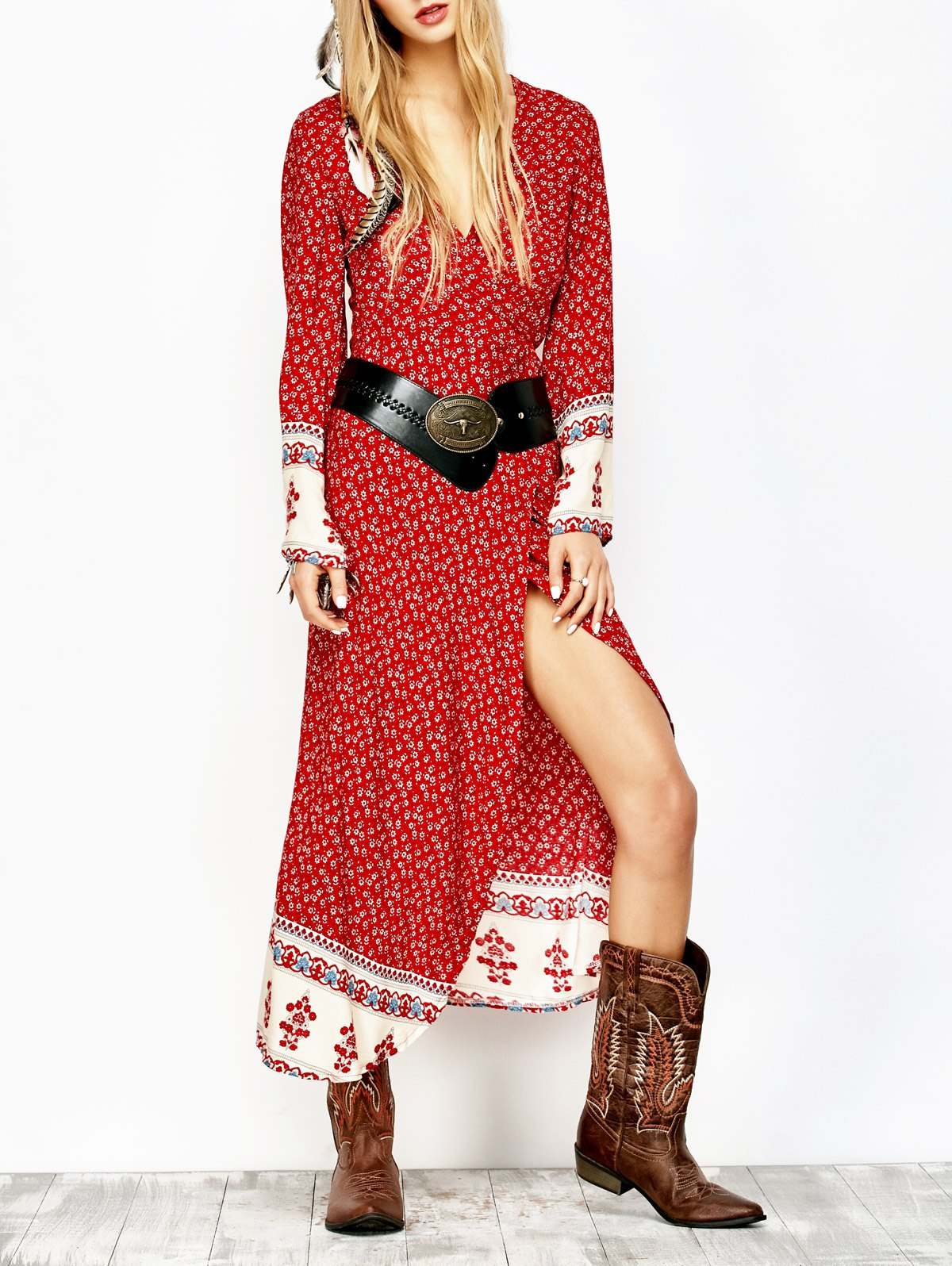Printed Wrap Maxi DressClothes<br><br><br>Size: L<br>Color: RED