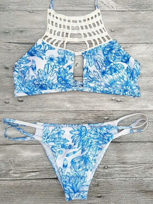 Cut Out Printed String Halter Bikini Set