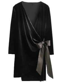 Bowknot Tie Velvet Robe Dress