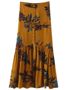 Boho Floral Single-Breasted Maxi Skirt - Ginger