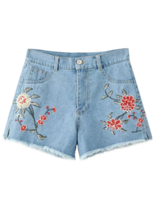 High Waisted Embroidered Denim Shorts - Light Blue S