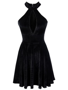 Velvet Keyhole Skater Dress - Black S