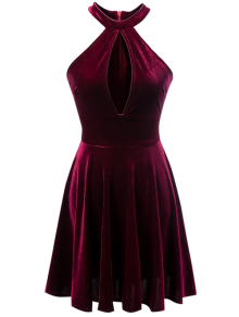 Velvet Keyhole Skater Dress