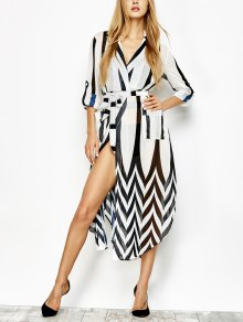 Belted Striped Shirt Dress