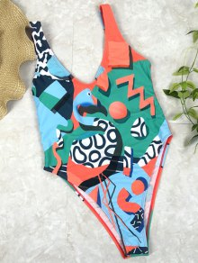 Low Back Abstract Print Swimsuit - Green